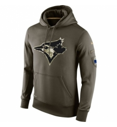MLB Men Toronto Blue Jays Nike Olive Salute To Service KO Performance Hoodie