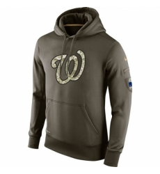 MLB Men Washington Nationals Nike Olive Salute To Service KO Performance Hoodie