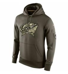 NHL Mens Columbus Blue Jackets Nike Olive Salute To Service KO Performance Hoodie