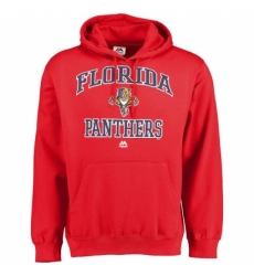 NHL Mens Florida Panthers Majestic Heart Soul Hoodie Red