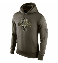 NHL Mens Florida Panthers Nike Olive Salute To Service KO Performance Hoodie
