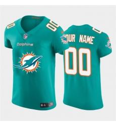 Men Women Youth Toddler Miami Dolphins Custom Aqua Green Men Nike Big Team Logo Elite NFL Jersey