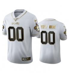 Men Women Youth Toddler New Orleans Saints Custom Men Nike White Golden Edition Vapor Limited NFL 100 Jersey