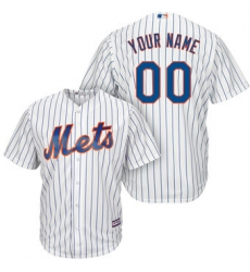 Men Women Youth All Size New York Mets Majestic White Royal Home Cool Base Custom Jersey White 3