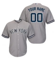 Men Women Youth All Size New York Yankees Majestic Gray Road Cool Base Custom Jersey II