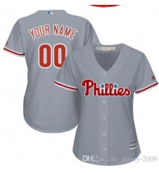 Men Women Youth All Size Philadelphia Phillies Cool Base Custom MLB Jersey Grey