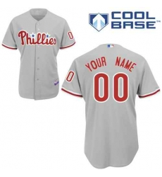 Men Women Youth All Size Philadelphia Phillies Grey Cool Base Man Custom Jerseys 3