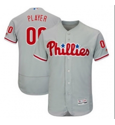 Men Women Youth All Size Philadelphia Phillies Majestic Alternate Grey Flex Base Custom Jersey