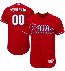 Men Women Youth All Size Philadelphia Phillies Majestic Alternate Scarlet Flex Base Custom Jersey Authentic