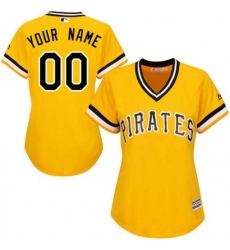 Men Women Youth All Size Pittsburgh Pirates Cool Base Custom Jersey Yellow