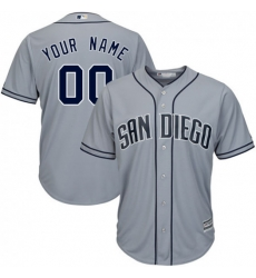 Men Women Youth All Size San Diego Padres Grey Customized Cool Base Jersey 3