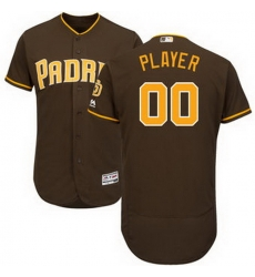 Men Women Youth All Size San Diego Padres Majestic Brown Alternate Flex Base Authentic Collection Custom Jersey