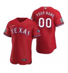 Men Women Youth Toddler All Size Texas Rangers Custom Nike Scarlet Stitched MLB Flex Base Jersey