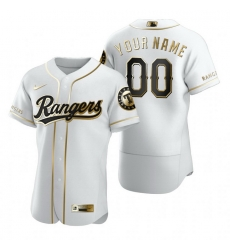 Men Women Youth Toddler All Size Texas Rangers Custom Nike White Stitched MLB Flex Base Golden Edition Jersey