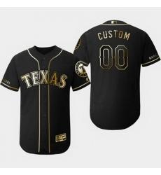 Men Women Youth Toddler All Size Texas Rangers Customized Black Gold Flexbase Jersey