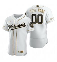 Men Women Youth Toddler All Size Washington Nationals Custom Nike White Stitched MLB Flex Base Golden Edition Jersey