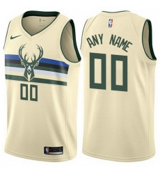 Men Women Youth Toddler All Size Nike Milwaukee Bucks Customized Authentic Cream NBA City Edition Jersey