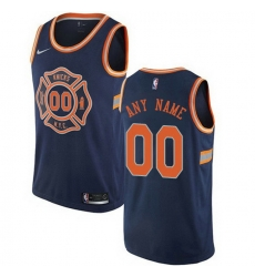 Men Women Youth Toddler All Size Nike New York Knicks Customized Swingman Navy Blue NBA City Edition Jersey