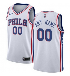 Men Women Youth Toddler All Size Nike Philadelphia 76ers Customized Swingman White Home NBA Association Edition Jersey