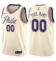 Men Women Youth Toddler All Size Philadelphia 76ers Cream Customized City Edition Authentic NBA Jersey