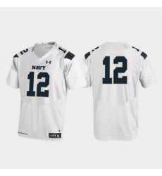 Men Navy Midshipmen 12 White Replica College Football Jersey