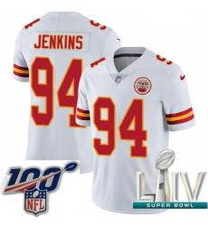 2020 Super Bowl LIV Men Nike Kansas City Chiefs #94 Jarvis Jenkins White Vapor Untouchable Limited Player NFL Jersey