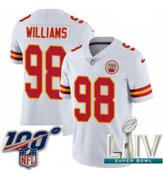 2020 Super Bowl LIV Men Nike Kansas City Chiefs #98 Xavier Williams White Vapor Untouchable Limited Player NFL Jersey