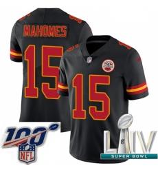 Nike Kansas City Chiefs #15 Patrick Mahomes Black 2020 Super Bowl LIV Men Stitched NFL Limited Rush Jersey