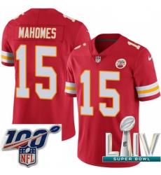 Nike Kansas City Chiefs #15 Patrick Mahomes Red Team Color 2020 Super Bowl LIV Men Stitched NFL Vapor Untouchable Limited Jersey