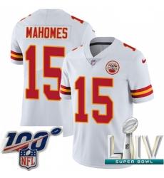 Nike Kansas City Chiefs #15 Patrick Mahomes White 2020 Super Bowl LIV Men Stitched NFL Vapor Untouchable Limited Jersey