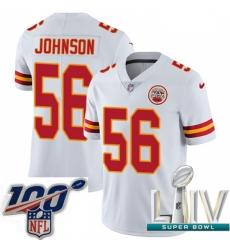 2020 Super Bowl LIV Youth Nike Kansas City Chiefs #56 Derrick Johnson White Vapor Untouchable Limited Player NFL Jersey