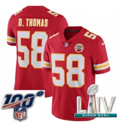 2020 Super Bowl LIV Youth Nike Kansas City Chiefs #58 Derrick Thomas Red Team Color Vapor Untouchable Limited Player NFL Jersey