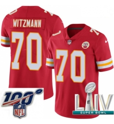 2020 Super Bowl LIV Youth Nike Kansas City Chiefs #70 Bryan Witzmann Red Team Color Vapor Untouchable Limited Player NFL Jersey