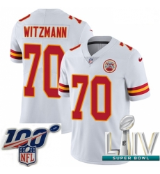 2020 Super Bowl LIV Youth Nike Kansas City Chiefs #70 Bryan Witzmann White Vapor Untouchable Limited Player NFL Jersey