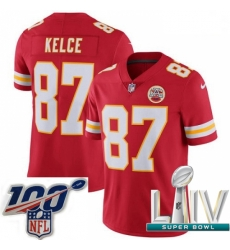 2020 Super Bowl LIV Youth Nike Kansas City Chiefs #87 Travis Kelce Red Team Color Vapor Untouchable Limited Player NFL Jersey