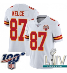 2020 Super Bowl LIV Youth Nike Kansas City Chiefs #87 Travis Kelce White Vapor Untouchable Limited Player NFL Jersey