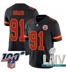 2020 Super Bowl LIV Youth Nike Kansas City Chiefs #91 Derrick Nnadi Limited Black Rush Vapor Untouchable NFL Jersey
