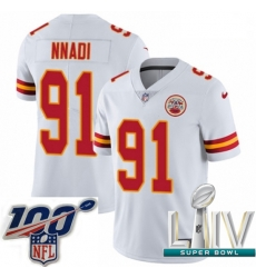 2020 Super Bowl LIV Youth Nike Kansas City Chiefs #91 Derrick Nnadi White Vapor Untouchable Limited Player NFL Jersey