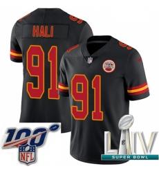 2020 Super Bowl LIV Youth Nike Kansas City Chiefs #91 Tamba Hali Limited Black Rush Vapor Untouchable NFL Jersey