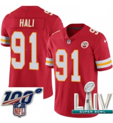 2020 Super Bowl LIV Youth Nike Kansas City Chiefs #91 Tamba Hali Red Team Color Vapor Untouchable Limited Player NFL Jersey
