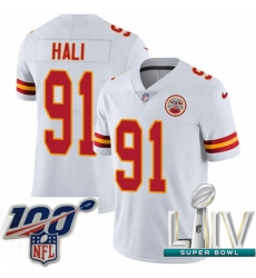 2020 Super Bowl LIV Youth Nike Kansas City Chiefs #91 Tamba Hali White Vapor Untouchable Limited Player NFL Jersey