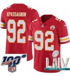 2020 Super Bowl LIV Youth Nike Kansas City Chiefs #92 Tanoh Kpassagnon Red Team Color Vapor Untouchable Limited Player NFL Jersey