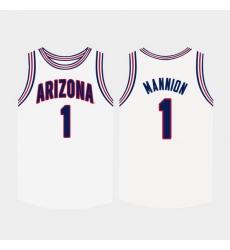 Men Arizona Wildcats Nico Mannion College Basketball White Jersey