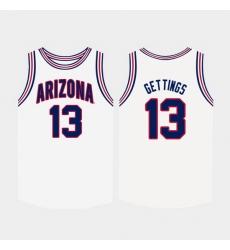 Men Arizona Wildcats Stone Gettings White College Basketball Jersey
