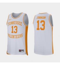 Men Tennessee Volunteers Jalen Johnson White Retro Performance College Basketball Jersey