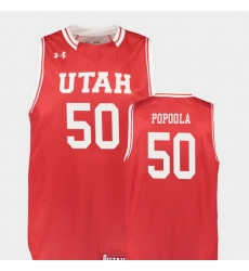 Men Utah Utes Christian Popoola Red Replica College Basketball Jersey