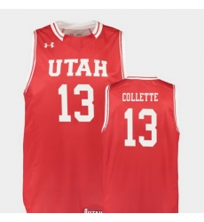 Men Utah Utes David Collette Red Replica College Basketball Jersey