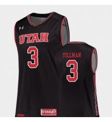 Men Utah Utes Donnie Tillman Black Replica College Basketball Jersey