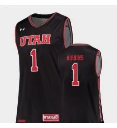 Men Utah Utes Justin Bibbins Black Replica College Basketball Jersey