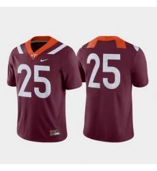 Men Virginia Tech Hokies 25 Maroon Game College Football Jersey